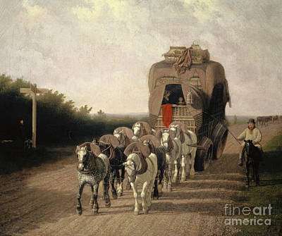 Painting - The Ludlow Carrier Coach, 1801  by Jacques-Laurent Agasse