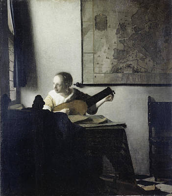 Painting - The Lute Player By Jan Vermeer, Oil On by Superstock