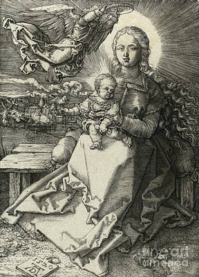Drawing - The Madonna Crowned By An Angel, 1520  by Albrecht Durer