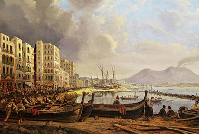 Loons Wall Art - Painting - The Marinella Coast In Napoli by Pieter van Loon