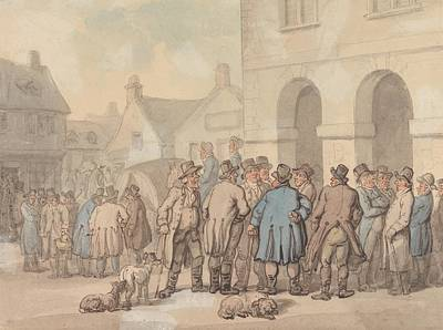 Drawing - The Market Place, Brackley, Northamptonshire by Thomas Rowlandson