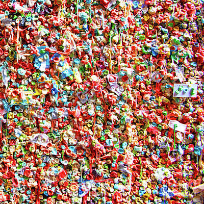 Photograph - The Market Theater Gum Wall At Pike Place Market Seattle Washington R1314 by Wingsdomain Art and Photography