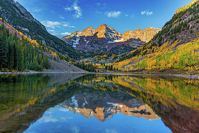 Photograph - The Maroon Bells In Autumn by Tim Stanley