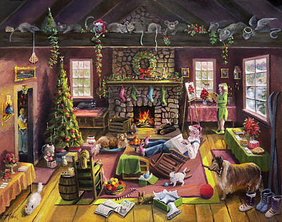 Painting - The Micey Christmas Heisty by Nancy Griswold