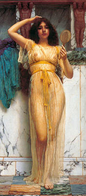 Painting - The Mirror 1899 by John William Godward 1861-1922
