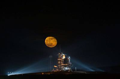 Painting - The Moon Is Seen Rising Behind The Space Shuttle Endeavour On Pad 39a by Celestial Images