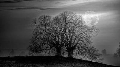 Photograph - The Moon Rises Over The Hillsides In Black And White by Debra and Dave Vanderlaan