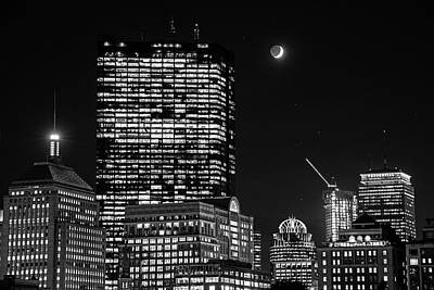 Photograph - The Moon Rising Over Back Bay And The Boston Common Boston Ma Black And White by Toby McGuire