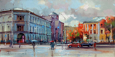 Moscow Wall Art - Painting - The Moscow Post Office. Myasnitskaya Street by Alexey Shalaev
