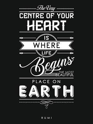 Mixed Media Royalty Free Images - The most beautiful place on earth - Rumi Quotes - Rumi Poster - Typography - Black and White Royalty-Free Image by Studio Grafiikka