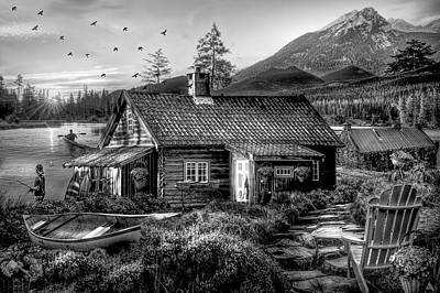 Digital Art - The Mountain Life In Black And White by Debra and Dave Vanderlaan
