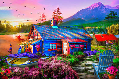 Digital Art - The Mountain Life Painting by Debra and Dave Vanderlaan