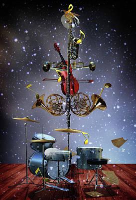 Surrealism Digital Art - The Musical Christmas tree by Mihaela Pater