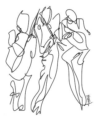 Musicians Drawings Rights Managed Images - The Musicians Royalty-Free Image by Kirstin Heinrich