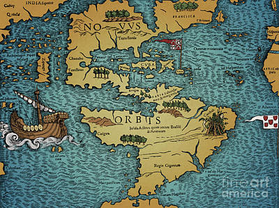 Drawing - The New World  Map In Geographia Universalis By Ptolemy by European School