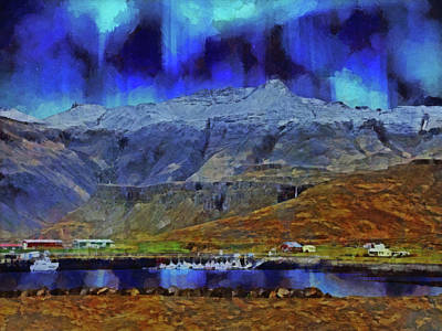 Digital Art - The Northern Lights Over Stykkisholmur In Western Iceland by Digital Photographic Arts
