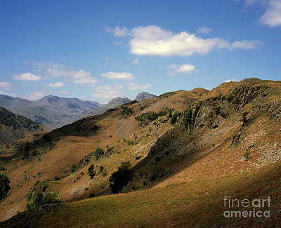 City Scenes - The northern ridge of Great Langdale looking toward the Langdale Pikes and Bowfell Lake District  by Michael Walters