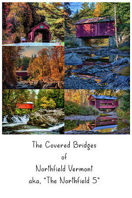 Photograph - The Northfield 5 Vermont Covered Bridges by Jeff Folger