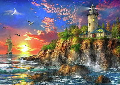 Painting - The Ocean Sunset Lighthouse by Dominic Davison
