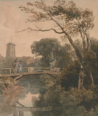Drawing - The Old Bridge by Peter De Wint