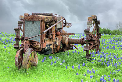 Photograph - The Old Tractor And Bluebonnets by JC Findley