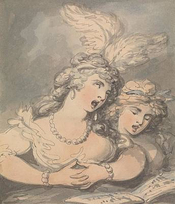 Drawing - The Opera Singers by Thomas Rowlandson