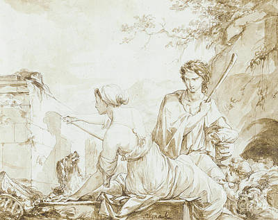 Photograph - The Origin Of Painting, Or Dibutade Tracing The Profile Of The Shepherd  by Jean-Baptiste Regnault