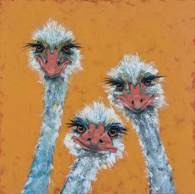Drawing - The Ostrich Sisters Sketch by Jani Freimann