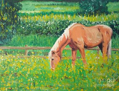 Painting - The Palomino And Buttercup Meadow by Abbie Shores