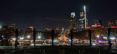 Photograph - The Parkway In Philadelphia At Night by Bill Cannon