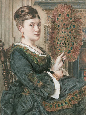 Drawing - The Peacock Fan by Edward Poynter