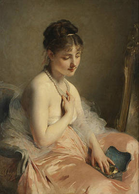 Painting - The Pearl Necklace by Charles Joshua Chaplin