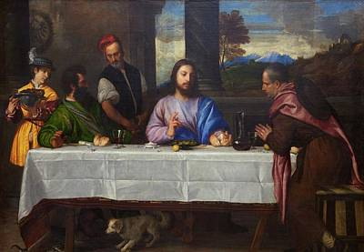 Painting - The Pilgrims Of Emmaus By Titian, 1530 by Peter Barritt