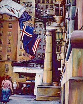 Wall Art - Painting - The Pillars Of The Plaza Hotel, New York City by Gaye Elise Beda
