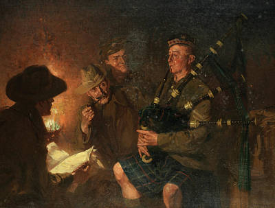 Bagpipes Wall Art - Painting - The Pipes By Firelight by Fred Roe