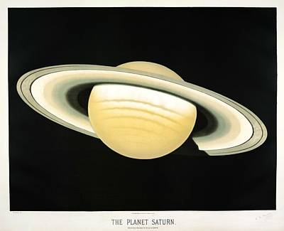 Painting - The Planet Saturn From The Trouvelot by Celestial Images