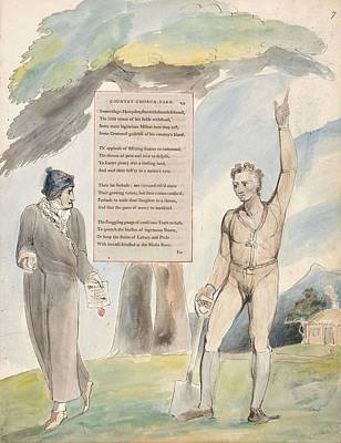 Painting - The Poems Of Thomas Gray Design 111   Elegy Written In A Country Church Yard  William Blake by Celestial Images