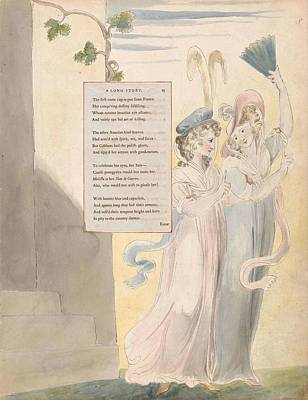 Painting - The Poems Of Thomas Gray  Design 27  A Long Story   William Blake by Celestial Images
