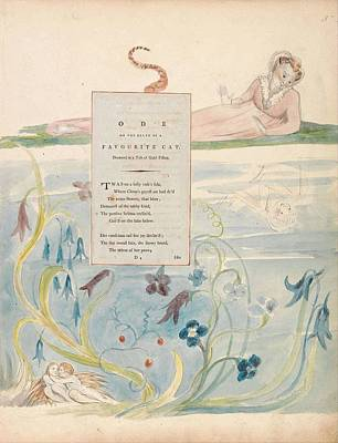 Painting - The Poems Of Thomas Gray  Design 9   Ode On The Death Of A Favourite Cat  William Blake by Celestial Images