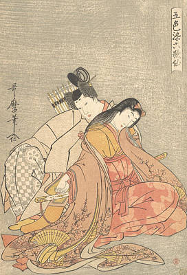 Relief - The Poet Ariwara No Narihira And Ono No Komachi by Kitagawa Utamaro