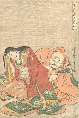Relief - The Poet Sojo Henjo Slipping A Letter Into A Woman's Sleeve by Kitagawa Utamaro