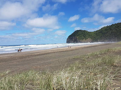 Digital Art - The Ponies Love The Piha Surf by Clive Littin