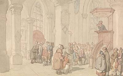 Drawing - The Preacher by Thomas Rowlandson