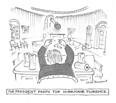 Drawing - The President Preps For Hurricane Florence by Nick Downes