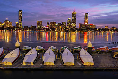 Photograph - The Pru Lit Up For The New England Patriots Charles River Boats by Toby McGuire