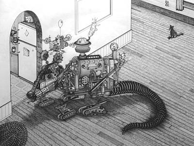 Steampunk Drawings - The Rat by Richie Montgomery
