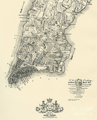 Drawing - The Ratzer Map Of The City Of New York, 1767 by Bernard Ratzer