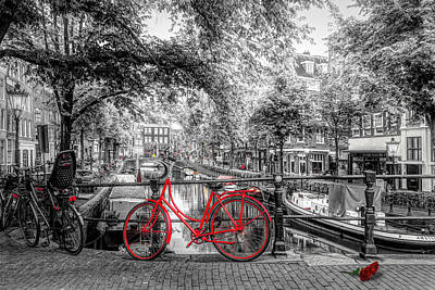 Photograph - The Red Bike In Amsterdam In Color Selected Black And White by Debra and Dave Vanderlaan