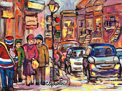 Painting - The Red Hockey Sweater Canadian Art Canadian Artist C Spandau Verdun To The Plateau Street Scenes by Carole Spandau