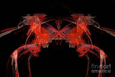 Digital Art - The Red Horses Abstract  by Marina Usmanskaya
